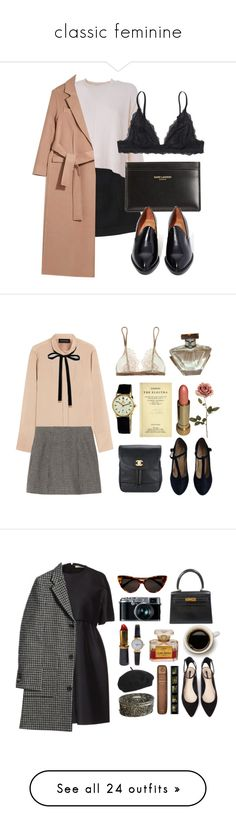 """classic feminine"" by paige-maries ❤ liked on Polyvore featuring Monki, Acne Studios, Yves Saint Laurent, Jeffrey Campbell, Topshop, By Malene Birger, Marc Jacobs, Rolex, Forever 21 and Chanel"
