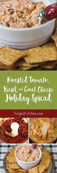 Roasted Tomato, Basil, and Goat Cheese Holiday Spread is delicious for an easy holiday appetizer. I used roasted tomatoes and frozen basil, but purchased sun-dried tomatoes and pesto will work as well. Serve with celery or sliced cucumber if you want a low-carb and gluten-free option.  [found on KalynsKitchen.com]