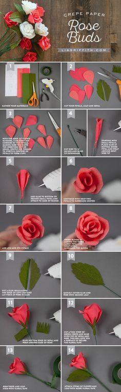 Handmade Crepe Paper Rose Buds Tutorial