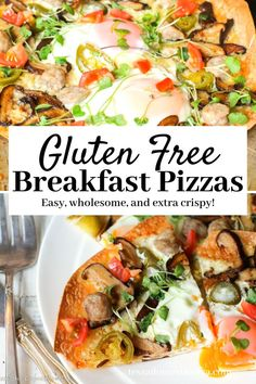 #schoolmorningbreakfast #breakfastpizzarecipe These gluten free breakfast pizzas are a great way to nourish the family before busy school days!  Egg, your choice of ham, sausage, or bacon, and some veggies!  Just a few minutes in the oven, and everyone gets what they want!