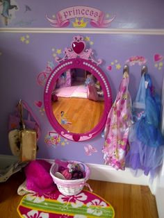 the mirror with hooks for princess dresses would be perfect!