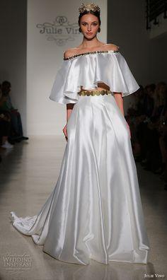 JULIE VINO Fall 2016 #Bridal gowns off the shoulder strapless crop top satin a  line skirt #wedding dress style adriana  #weddingdress #weddinggown