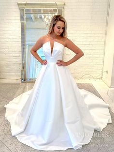 Deep V neck Strapless Satin Wedding Dresses with Pockets VW1867 – Viniodress