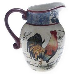 Amazon.com: Certified International Lille Rooster 2-1/4-Quart Pitcher: Kitchen & Dining