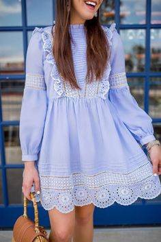 Eyelet dress from Topshop on Dallas fashion blogger Fashion And Frills.