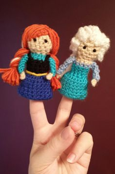 Frozen Anna and Elsa Crochet Finger Puppets by TinyButMightyHearts
