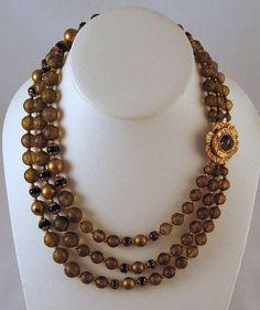 Fabulous Florenza Triple Strand Black Brown Gold Necklace on Etsy