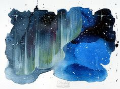 illustration by #dushky | #art #illustration #watercolor #space #universe #galax #stars #aurora #nebula #postcard