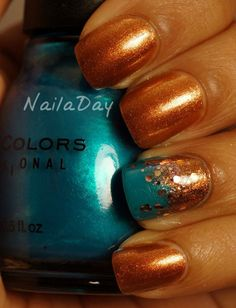 Bronze Gold Nails with Sparkles
