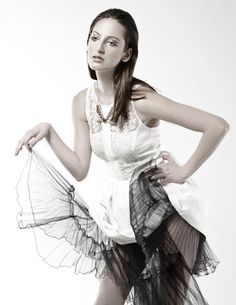 Black and White Photographer: Kaity Body Stylist: Carmen Tsang Model: Jenna M   lace, tulle, editorial, photo shoot