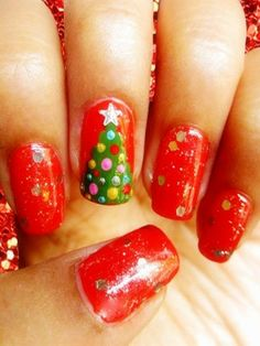 2013 Christmas tree nails, Red Christmas nails for girls, Christmas tree nails for 2013