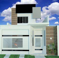 fachadas-de-casas-com-portão Front Gate Design, House Gate Design, Door Gate Design, Garage Ouvert, Pergola Metal, House Elevation, Modern Architecture House, Iron Gates, Affordable Housing