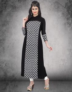 Mosaic Designs On A Basic Black Georgette Fabric Making A Simple Kurti An Exotic Designer Style That You Must Have. Be The Gorgeous You And Pair This Amazing Designer Kurti With A Plain Matching Leggins Or A Straight Pant To Bring Out Its Aesthetics.
