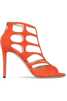 Jimmy Choo - Ren Suede Cutout Sandals - Bright orange - IT