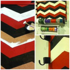 """Chevron Pattern Ribbon Holder for craft or hobby room; Used an old cork board, traced the pattern with pencil, painted it with a black, red, and white theme.  Added a 1 1/4"""" wood spacer and attached to frame of bulletin board, then attached simple metal hooks to the spacers.  Finally I used 1/2"""" oak dowel rods (painted white) for the ribbon spools and viola...now it's One of a Kind by Heather"""