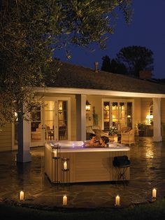 Warm up your date night with a candle lit patio and a #HotSpringSpas hot tub — what better way to wind down?
