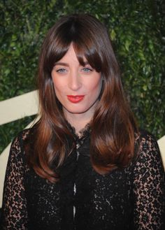 Laura Jackson - brunette hair highlighted with red accents, blunt fringe / bangs.  2013 British Fashion Awards
