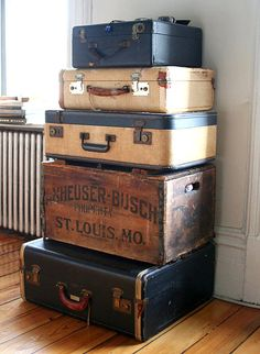 I love stacked suitcases and old boxes!