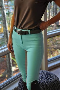 "Styled: Annie's Original Blue Breeches Hold onto your Swarovski, ladies, because these breeches are from Annie's Equestrienne Apparel. That's right, Annie's, the shop known for its ""Sweet Schooling Clothes for Girls"" now makes riding apparel for grown-u Equestrian Boots, Equestrian Outfits, Equestrian Style, Equestrian Fashion, Horse Fashion, Riding Breeches, English Riding, Riding Gear, Horse Riding Pants"