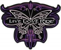 Live Love Ride Butterfly Ladies Back Patch