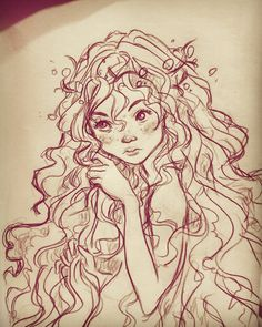 airy with curly hair! #art #draw #drawing #illustration #concept #character #design #doodle #sketch #sketchbook #artwork #girl #girly