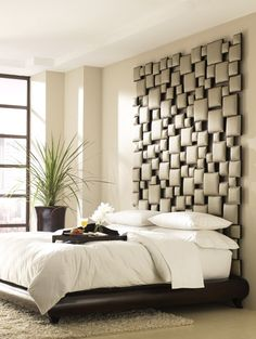 35 Cool Headboard Ideas To Improve Your Bedroom Design. (try fabric wrapping small pieces of wood and then stick to wall in random house design home design interior design interior design Home Bedroom, Bedroom Decor, Bedroom Ideas, Bedroom Retreat, Bed Ideas, Bedroom Lighting, Dream Bedroom, Queen Bedroom, Bedroom Interiors