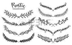 nature vintage: Vintage set de la main tiré lauriers rustiques. Graphique vectoriel Floral. Nature des éléments de conception. Illustration