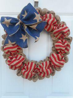 Patriotic burlap wreath Burlap Patriotic wreath Americana burlap wreath Burlap Americana wreath Stars n Stripes wreath July 4th Memorial RTS
