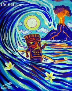 Coltiki Art Fun In The Sun Tiki On Wave Robert Colton by Coltiki