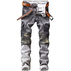 f0c0b7301f Shunht Men's Washed Denim Jeans Casual Pants Bike Jeans Trousers