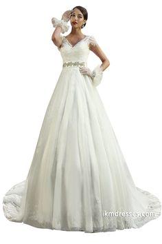 Women A Line Lace Short Sleeve Wedding Dresses http://www.ikmdresses.com/Women-A-Line-Lace-Short-Sleeve-Wedding-Dresses-p89190