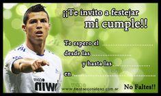 Tarjetas e Invitaciones de cumpleaños para Imprimir - Fiestas ... Cristiano Ronaldo, Soccer Theme, Real Madrid, Ideas Para Fiestas, 30th Birthday, Party, Messi, Google, Christian