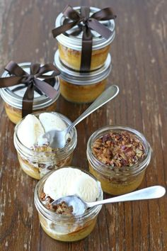Can't decide between pumpkin pie and pecan pie? There's no need thanks to this dessert that combines the two. This treat is made for jars–too cute!–so it's good for saving or giving as gifts, too.