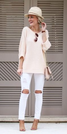 #spring #fashion /  Pink Knit / White Destroyed Skinny Jeans