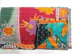 Vintage Kantha Quilt Old Sari Patchwork Bedspread Throw ralli Hand Quilt Throw R #Handmade #AntiqueStyle