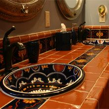 Bathroom ideas on pinterest corner showers rustic bathrooms and western bathrooms for Talavera tile bathroom designs