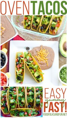 This Oven Tacos Recipe is so easy to make plus it makes enough to feed a crowd! They're economical and you can customize them to fit your family's taste buds! This is a 20 minute recipe!