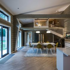 For this house in the green Russian forest, the designer Ekaterina Gracheva has chosen a light wood floor, the Oak Coral which matches perfectly with the grey logs used for the walls. Timber Flooring, Hardwood Floors, Roof Tiles, House In The Woods, Log Homes, Cozy House, Brick, Sweet Home, Living Room
