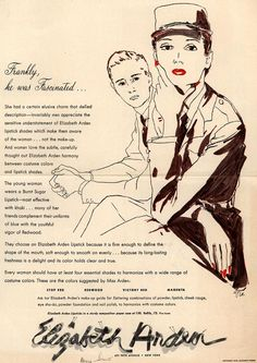 Frankly, he was Fascinated... Loving the graphics on this 1942 Elizabeth Arden lipstick ad.