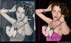Ava Gardner b&w photo, before and after restoration and colorization by Louise Baranoski.