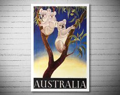 Australia  Travel Poster  Poster Paper Sticker or by WallArty
