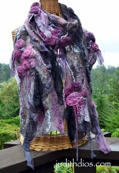 Magenta Roses on Amethyst, Gray & Black Nuno Felting, Needle Felting, Nuno Felt Scarf, Felted Scarf, Shabby, Textiles, Lavender Roses, Felt Art, Silk Painting
