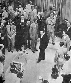 King Faisal II at the opening of the #Baghdad TV broadcast in 1956 and was the first TV broadcast in the Arab world