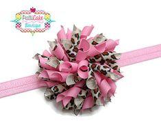 Pink Leopard Hair Bow Headband, Korker Hair Bow, Hair Clip, Adjustable, Pink Headband, Little Girls, Toddler Hair Bow, Baby Hair Bow, 809