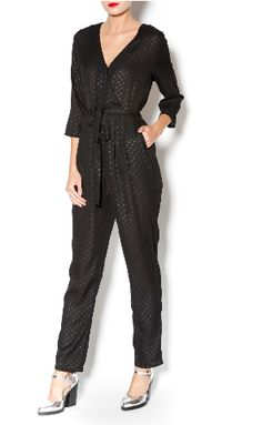 Dotted black crossover v-neck jumpsuit with long sleeves and tie belt and sheer details. Belt Tying, Suits You, New Dress, What To Wear, Overalls, Polka Dots, Jumpsuit, Nyc, Boutique