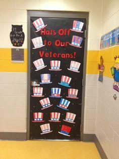 Veterans Day classroom door decoration - New Pin Patriotic Crafts, July Crafts, Kid Crafts, Veterans Day Activities, Preschool Activities, Veterans Day Celebration, Classroom Door, Classroom Ideas, Preschool Classroom