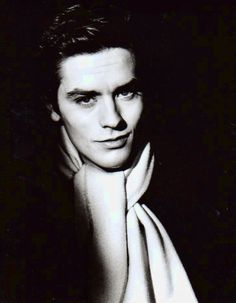 Alain Delon. What a lovely soft looking scarf.