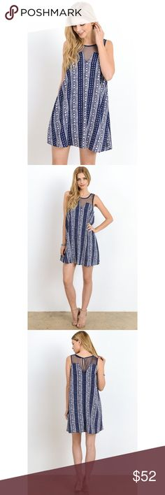 Boho Patterned Navy Blue Mini Dress Looking for the perfect summer mini dress? Take a glance at this beautiful boho patterned navy blue shift dress! Features a sheer mesh detail high neckline, button closure in the back, and it is lined. Model is 5'8 and is wearing a small. 100% Polyester.  . . . If you would like to make an offer, please use the OFFER BUTTON. {10% discount on all 2+ orders} . . FOLLOW US✌🏽️ Insta 📸: shop.likenarly Facebook📱: likenarly Website 🌐: likeNarly.com likeNarly…