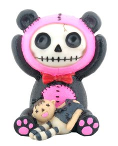 Pink Pandie Furry Bones Skellies Figurine [8144S] - $7.99 : Mystic Crypt, the most unique, hard to find items at ghoulishly great prices!