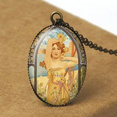 Alphonse Mucha Poster, Art Nouveau Jewelry, Muse Jewelry, Female Portrait, Fairy Pendant Necklace, Alphonse Mucha Jewelry N657. $8.00, via Etsy.